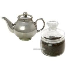 Подарочный набор из чайника под серебро с копорским чаем