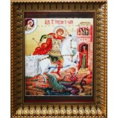 Большая икона с кристаллами Swarovski Георгий Победоносец