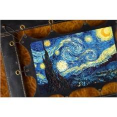 Картина из кожи Звездная Ночь Ван Гог (прямоуг. рама)