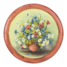 Панно из каменной крошки на тарелке Полевые цветы 40 см