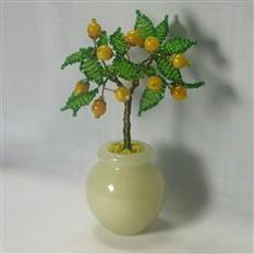 Дерево счастья из опала в вазочке из оникса