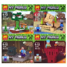 Набор из 4 конструкторов Lele Minecraft