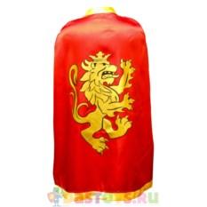Детский красный рыцарский плащ с золотым львом