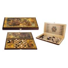 Настольная игра Баталия: нарды, шашки, размер 50х25 см