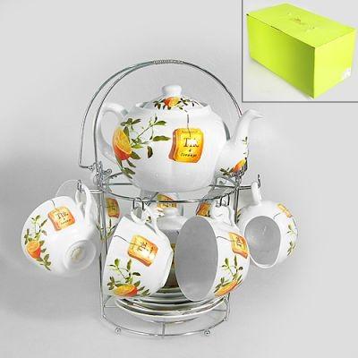 Набор чайный на подставке, на 15 предметов Апельсин