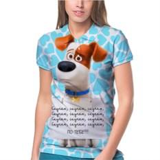 Женское поло Собака с табличкой: я скучаю!