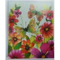 Бумажный ламинированный пакет Бабочки и цветы