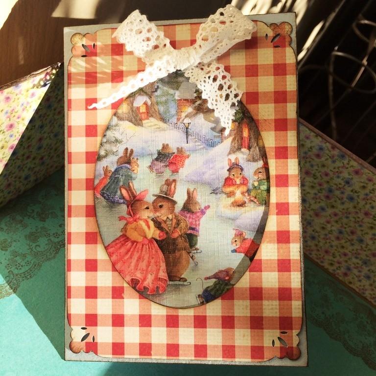 Новогодняя открытка Зайцы на катке