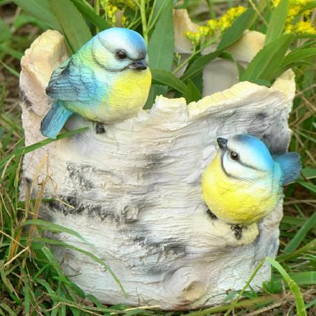 Кашпо Пенёк берёзовый с птичками