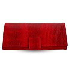 Женское красное портмоне из кожи морской змеи на хлястике