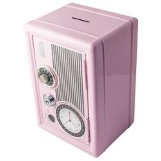 Розовая копилка-сейф с ключом Радио-ретро