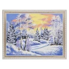 Картина из каменной крошки в рамке из гипса Зимний пейзаж