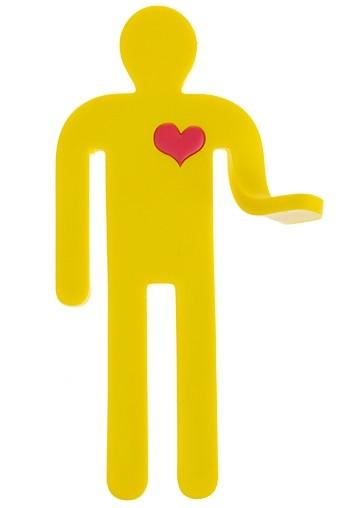 Держатель-магнит с крючком Веселый человечек желтый