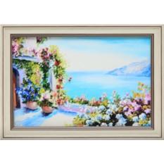 Картина с кристаллами Swarowski Греческий дворик
