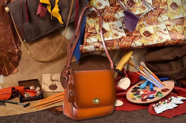 Коричневая кожаная сумка Giorgio Ferretti
