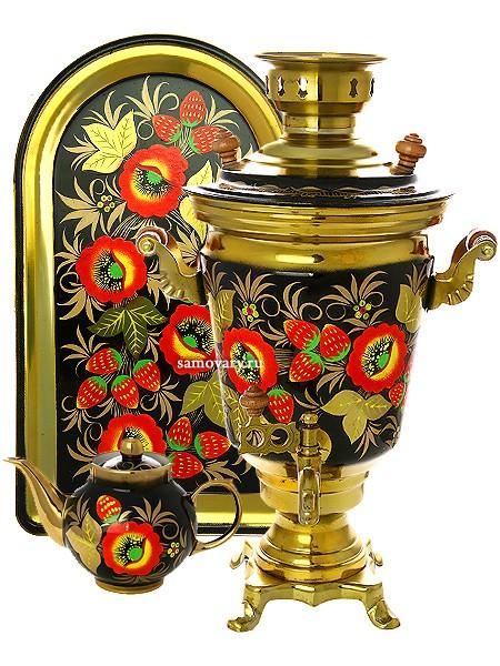 Набор; самовар 4 л. с росписью Маки, поднос и чайник