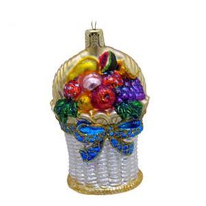 Елочное украшение из стекла Корзинка с фруктами