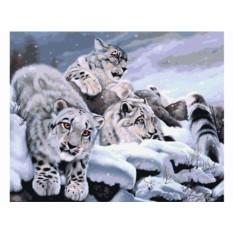 Картины по номерам «Снежные барсы»