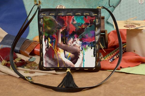 Черная сумка-планшет Разноцветная любовь Elole Design