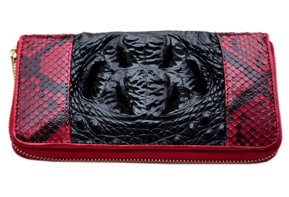 Красно-черный женский кошелек из крокодила и питона