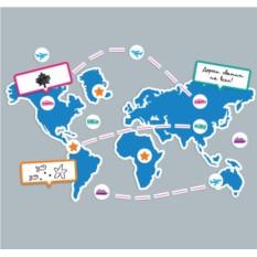 Магнитная карта мира Вокруг света