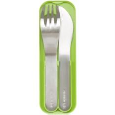 Зеленый набор из 3 столовых приборов в футляре MB Pocket
