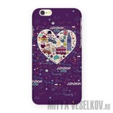 Чехол для IPhone 6 London - фиолетовое сердце