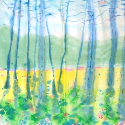 Платок из натурального шёлка Голубой лес