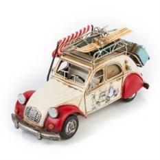 Модель ретро-автомобиля с фоторамкой и копилкой (белый)