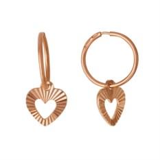 Золотые серьги в форме рифленого сердца
