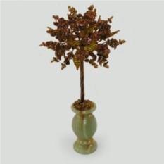 Дерево благополучия из авантюрина в вазочке из оникса