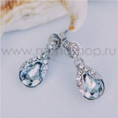 Серьги с серыми кристаллами Сваровски «Зеркало души»