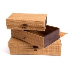 Набор шкатулок из 3 плетеных шкатулок