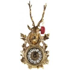 Часы-голова оленя настенные золотые Virtus