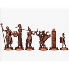 Металлический красный шахматный набор Троянская война