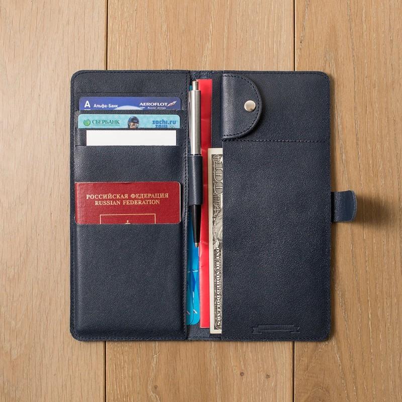 Кожаный синий холдер для документов Hyper Keeper
