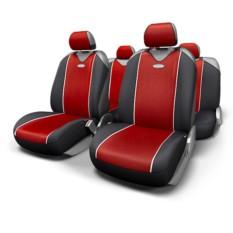Черные с красной вставкой чехлы-майки Carbon plus Autoprofi