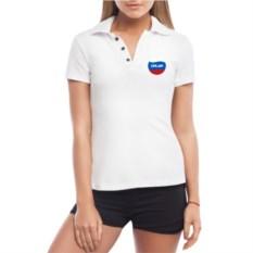 Белая женская футболка поло Галя