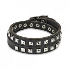 Черный кожаный браслет со стальными заклепками Spikes