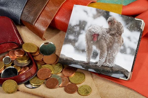 Черный кожаный портмоне Две снежные обезьяны