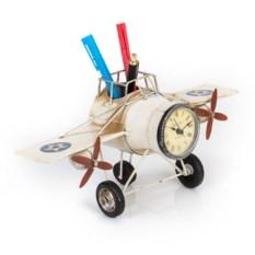 Фоторамка с подставкой для ручек Часы-самолёт