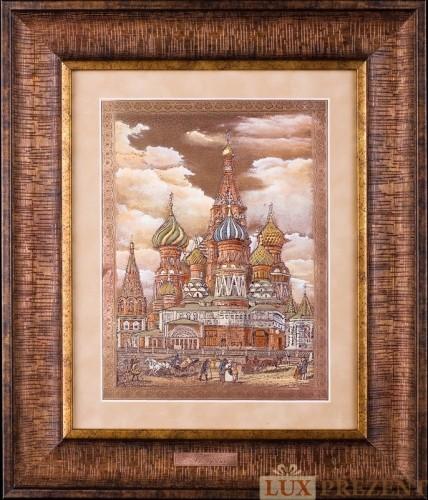Офорт Храм Василия Блаженного Москва 19 век