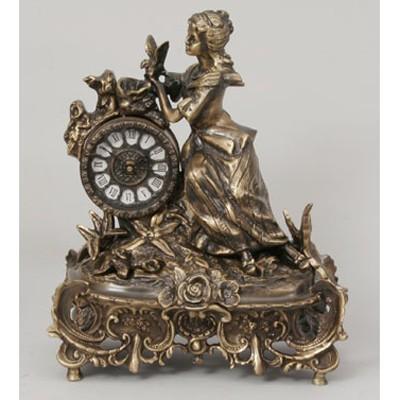 Часы-фигура из бронзы Virtus Дама с розами