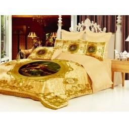 Комплект постельного белья Барокко. 1,5-спальный, золотистый
