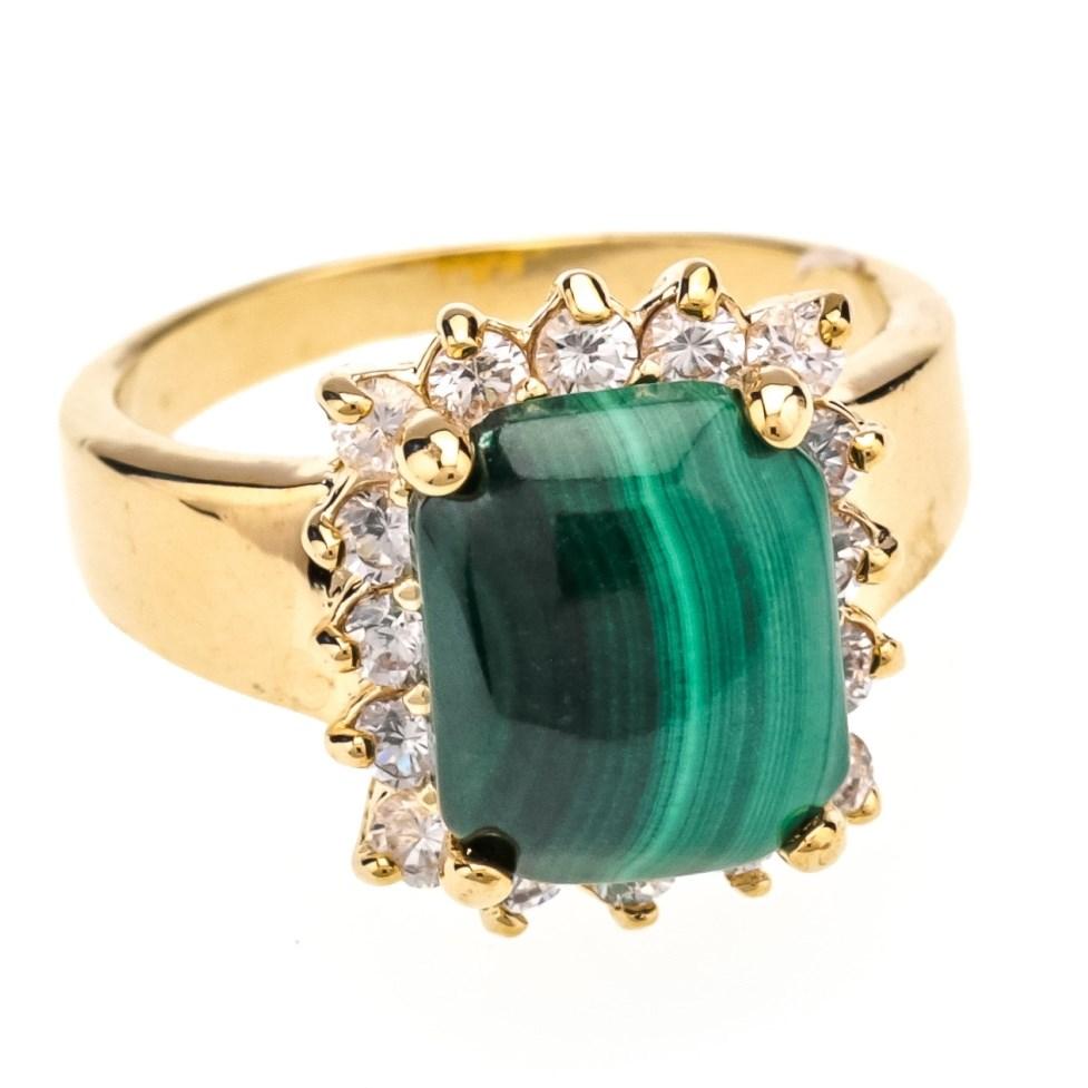 Позолоченное кольцо с малахитом и цирконом