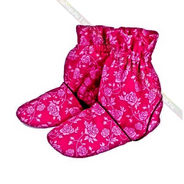 Тапочки-грелки с узором Rose, пурпур