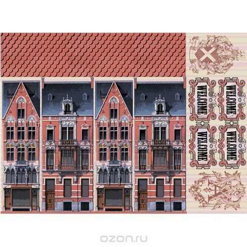 Рисовая бумага для декупажа Домик с черепицей, 28,2 см х 38,4 см