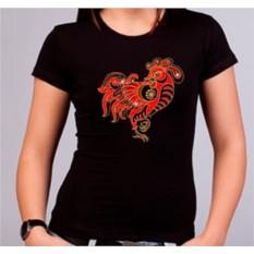 Женская футболка Золотой петушок Swarovski