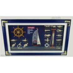 Панно Морские узлы: яхта (70x42 см)