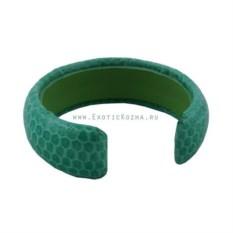 Зеленый женский браслет из натуральной кожи змеи